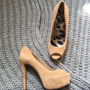 Jessica Simpson Carri peep toe nude platform pumps